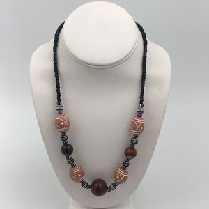 Jewelry - Light Brown Terracotta Clay &  Bead Necklace